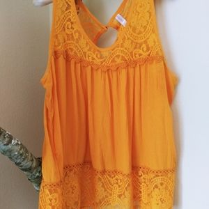 Yellow Romantic Lace Tank Top Large